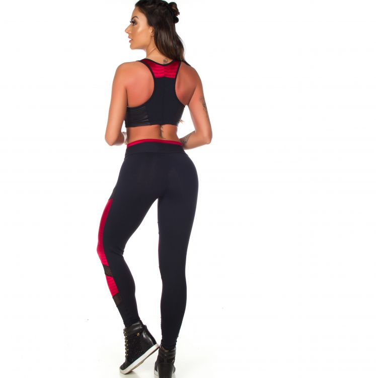 Conjunto Fitness Legging Detalhe New Zig + Top New Zig Com Bojo