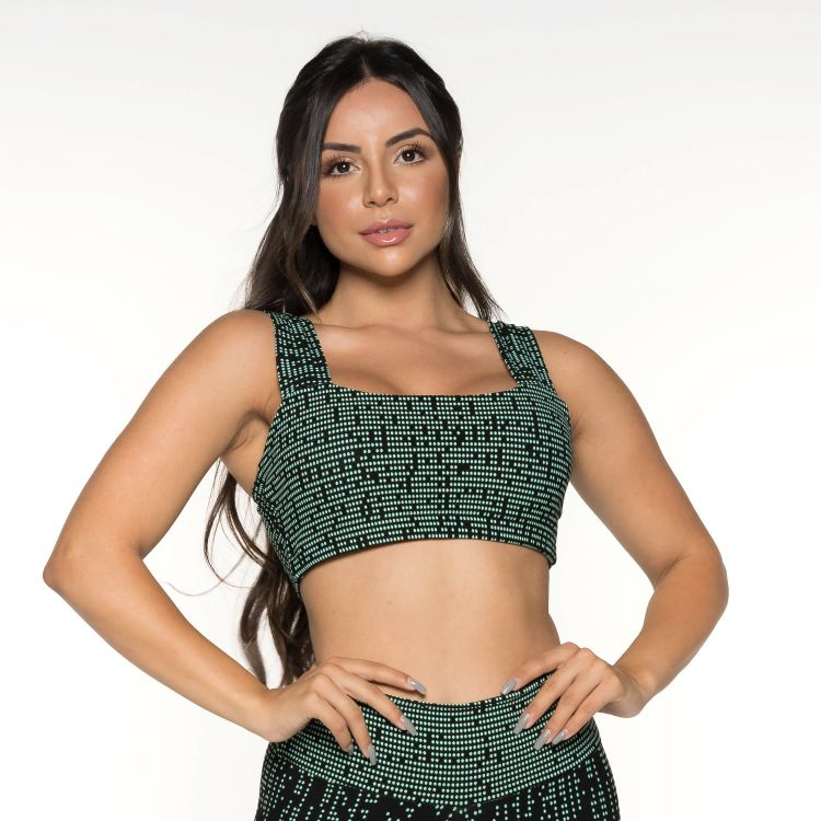 Cropped Fitness Jacquard Degradê Verde