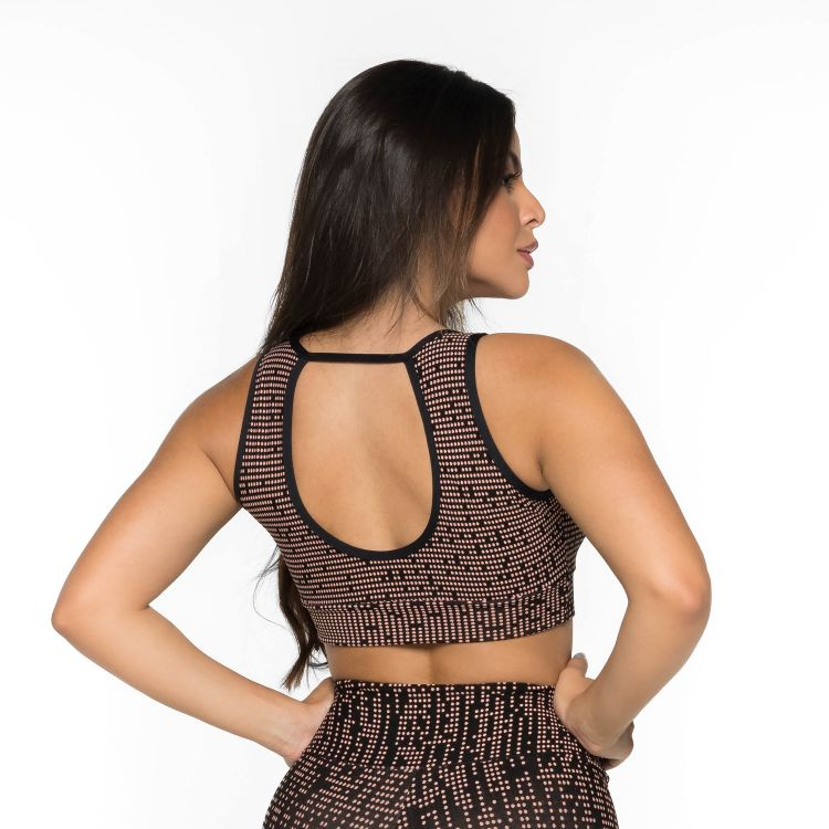 Top Fitness com Decote Jacquard Bella
